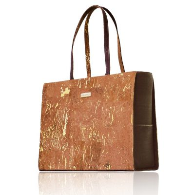 Classy gold-natural and brown coloured cork business bag with long handles on white background