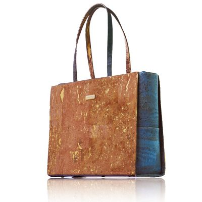 Classy business bag in natural-gold and green coloured cork, front view with white background
