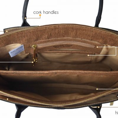 Top view in open Savvy business bag with description on details as key holders or compartments
