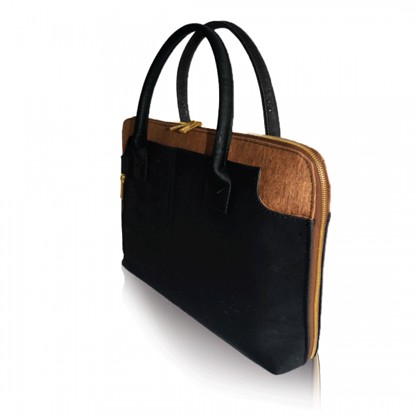 Side view of black and brown cork bag for business Savvy
