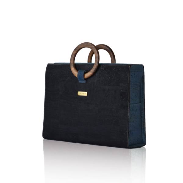 Business bag Bossy in black and marine cork, front view with white background