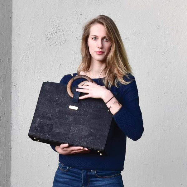 Laptop briefcase for women Bossy in black-marine