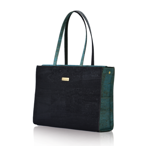Business bag Classy in black and green slightly from the side with white background