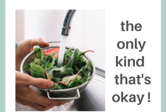Showing a bowl of salad under water getting washed, title: Greenwashing, the only kind that's okay!