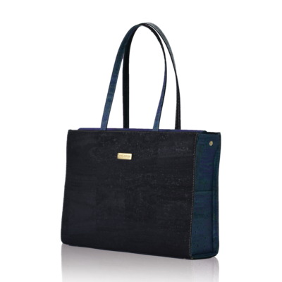 Classy business bag made of black and marine cork with white background