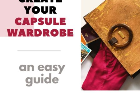 """Image with title """"Create your capsule wardrobe – an easy guide"""" showing next to it an open Bossy handbag filled with clothes, books and more"""