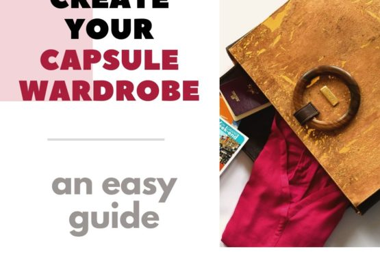 "Image with title ""Create your capsule wardrobe – an easy guide"" showing next to it an open Bossy handbag filled with clothes, books and more"